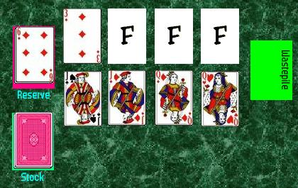 The initial layout in the game of Canfield.