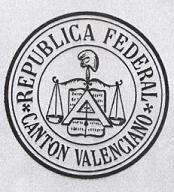 Escudo delCantón federal de Valenciaen el que los internacionalistas tuvieron una participación muy activa.