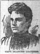 Captain Blanch Douglass Leathers, drawing appearing in the Indianapolis News on 23 February 1895.