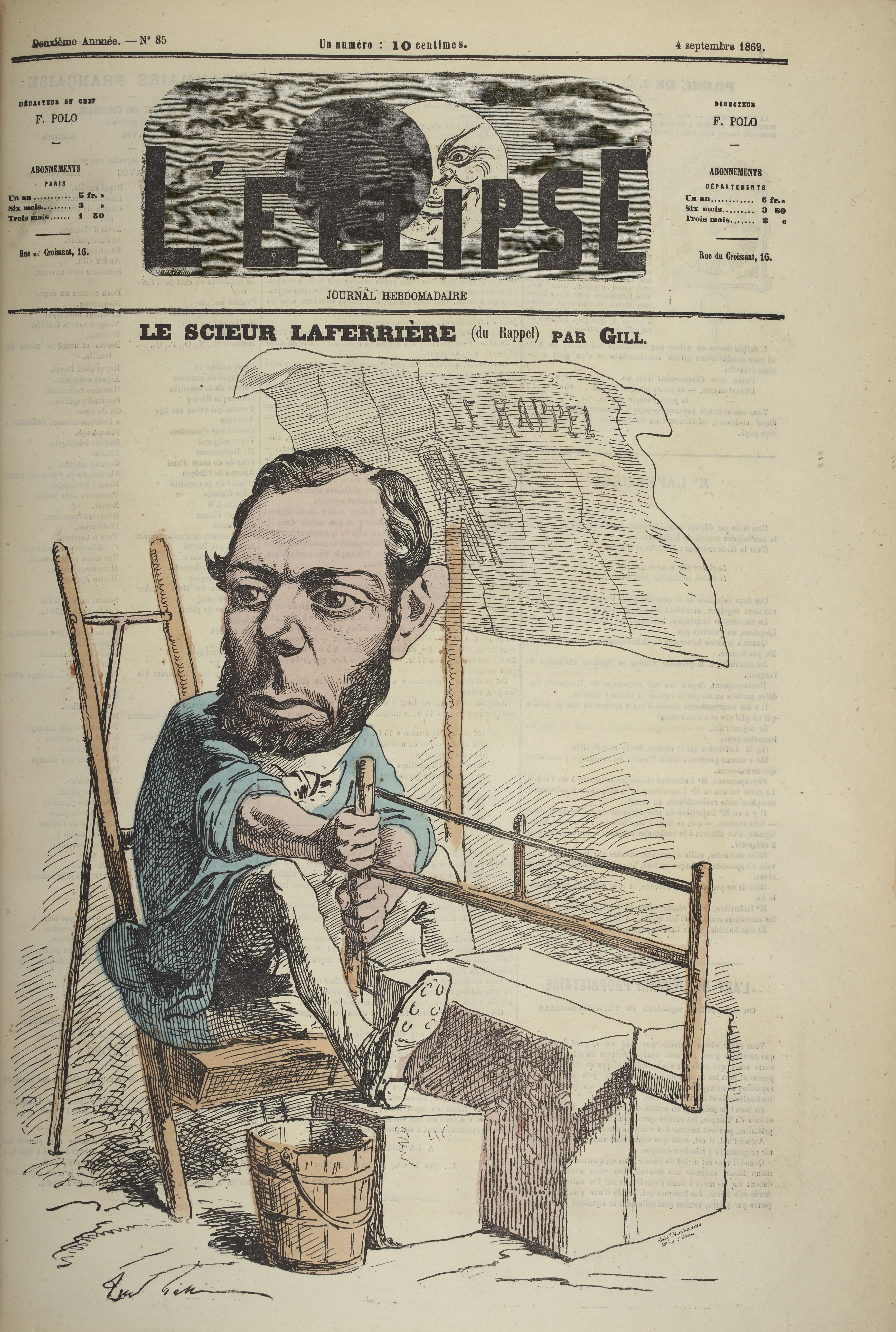 """Le scieur Laferrière"" by [[André Gill]] from ''[[L'Éclipse]]'', 4 September 1869"