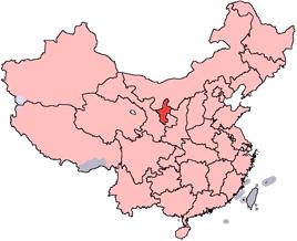 Ningxias läge i Kina.
