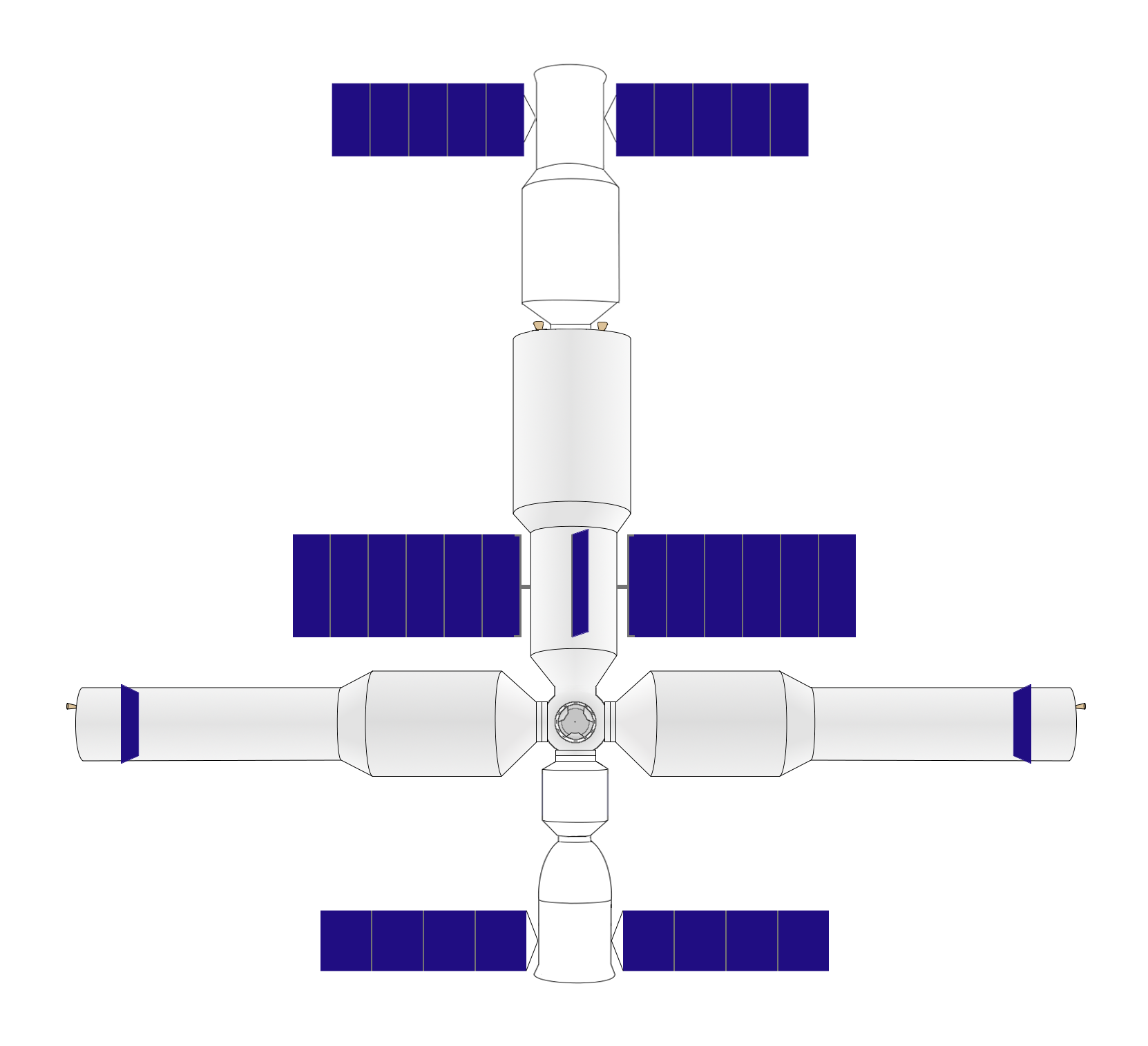 Plan-view diagram of the Chinese space station, which is planned to enter operation in 2020.