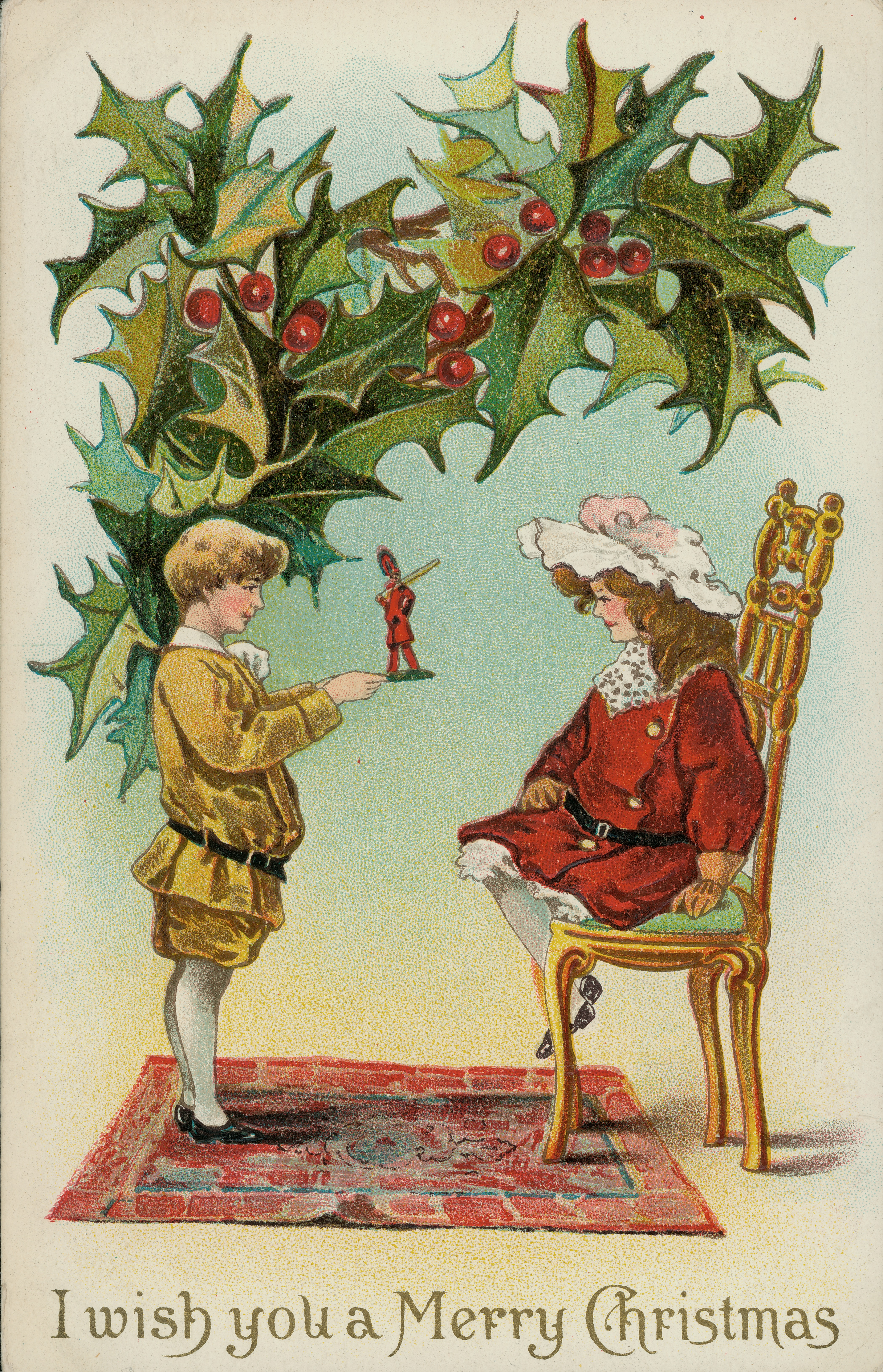 File Christmas Postcard Showing Young Boy Standing Showing Mounted