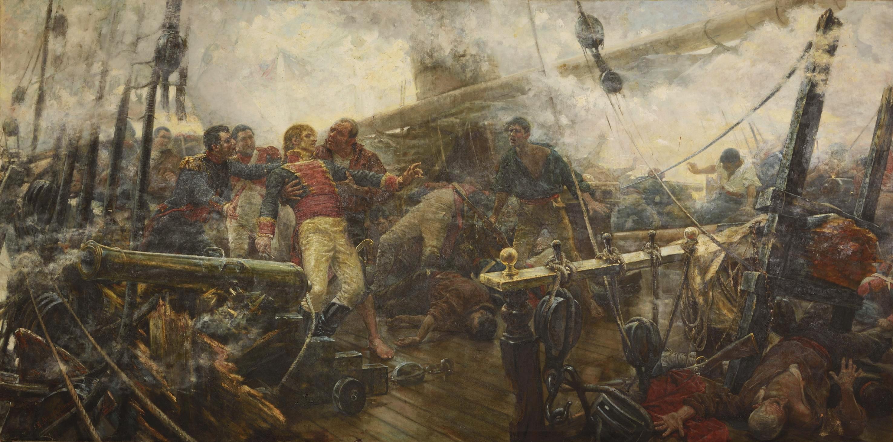 Churruca's Death, oil on canvas about the Battle of Trafalgar by Eugenio lvarez Dumont, Prado Museum