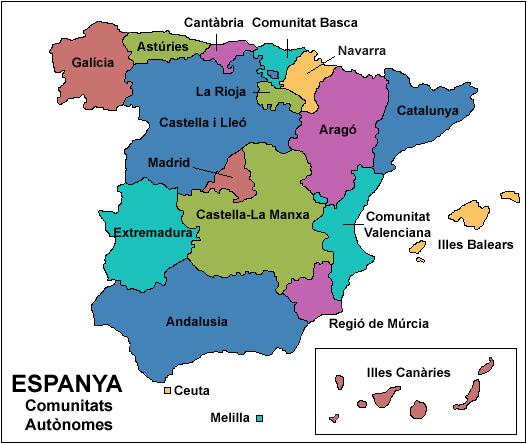 Resultado de imagen de comunitats autonomes espanya