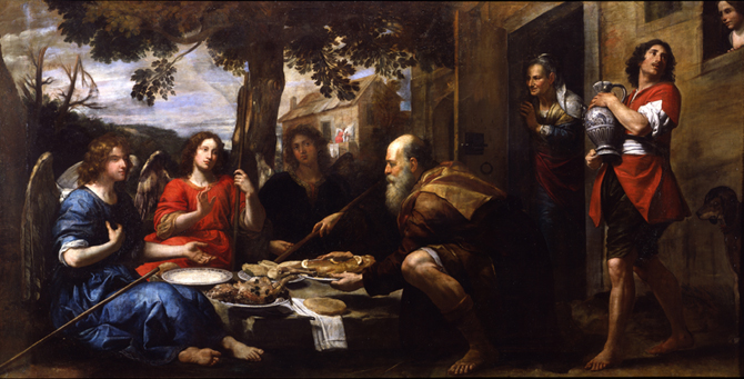 File:Convito di Abramo con i tre angeli di Fiasella ...