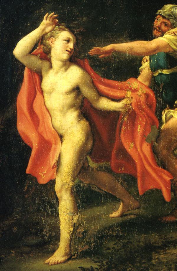 nude man running away