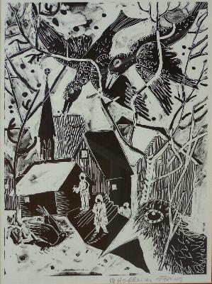 File:Die Raben, Margret Hofheinz-Döring, Zeichnung-Repro, 1978.JPG