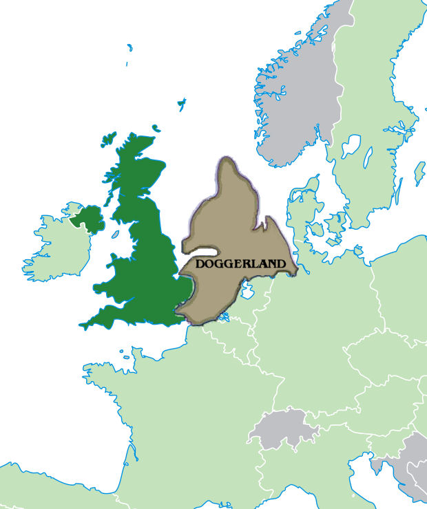 Door I Polaris999 created and superimposed the image of Doggerland on the map of northern Europe created by User: Quizimodo - http://upload.wikimedia.org/wikipedia/commons/6/6c/Location_UK_EU_Europe.png Publiek domein https://commons.wikimedia.org/w/index.php?curid=5798676