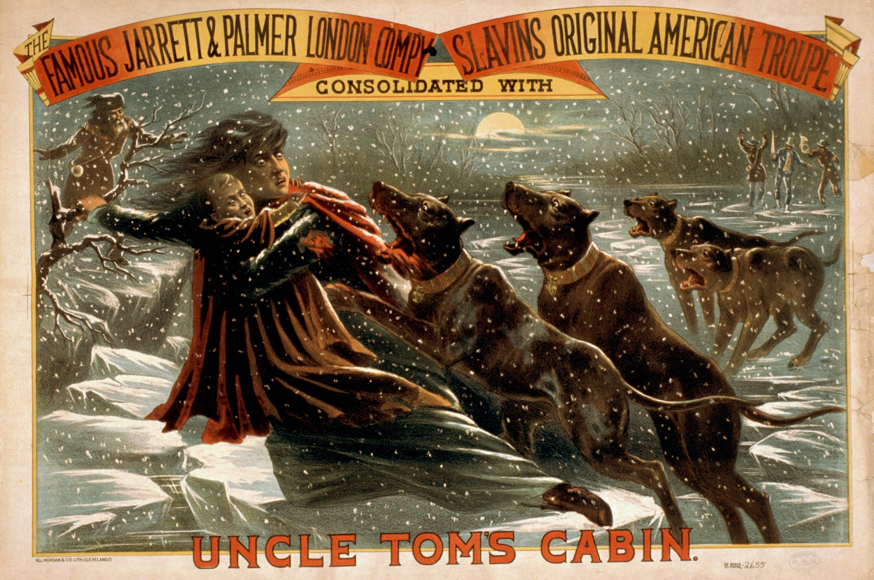 uncle tom s cabin simple english the encyclopedia eliza crossing the icy river in an 1881 theater poster uncle tom s cabin