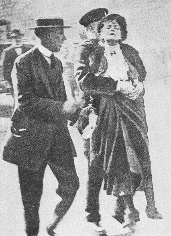 Emmeline Pankhurst being arrested at King's Gate in May 1914.