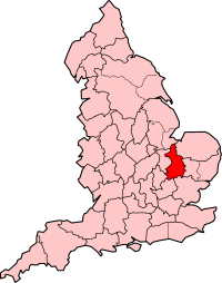 Cambridgeshire and the Isle of Ely shown within England