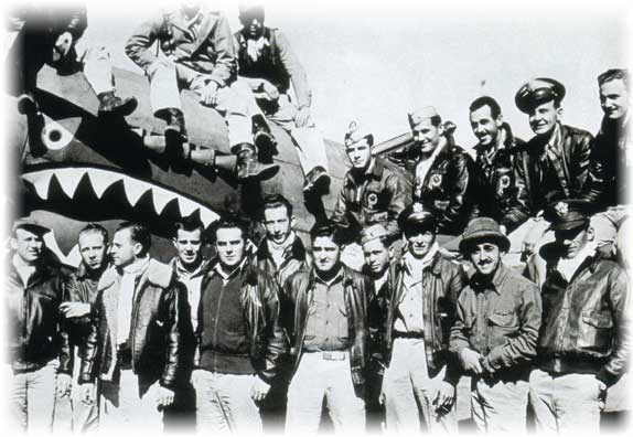 Flying Tigers personnel, c. 1940, PD-USGOV; PD-USGOV-MILITARY-AIR FORCE, Courtesy of Wikipedia.