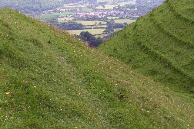 Iron-age earthworks, Hambledon Hill - geograph.org.uk - 646199