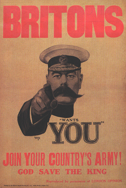 "Britisches Rekrutierungsplakat ""Lord Kitchener Wants You""."