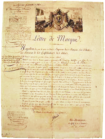 Letter of marque given to Captain Antoine Bollo via the shipowner Dominique Malfino from Genoa, owner of the Furet, a 15-tonne privateer, 27 February 1809 Lettre-de-marque2.png