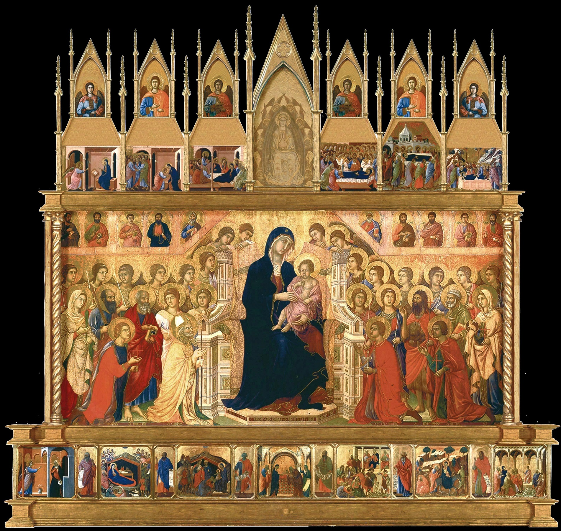 Duccio di Buoninsegna (ca 1255/60-ca 1318/19): Den store altertavlen «Maestà med tyve engler og nitten helgener», malt for høyalteret i katedralen i Siena (1308-11), nå i Museo dell'Opera Metropolitana i Siena