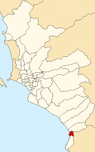 Location of Santa María del Mar in the Lima province