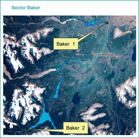 Mapa centrales Baker 1 y 2.