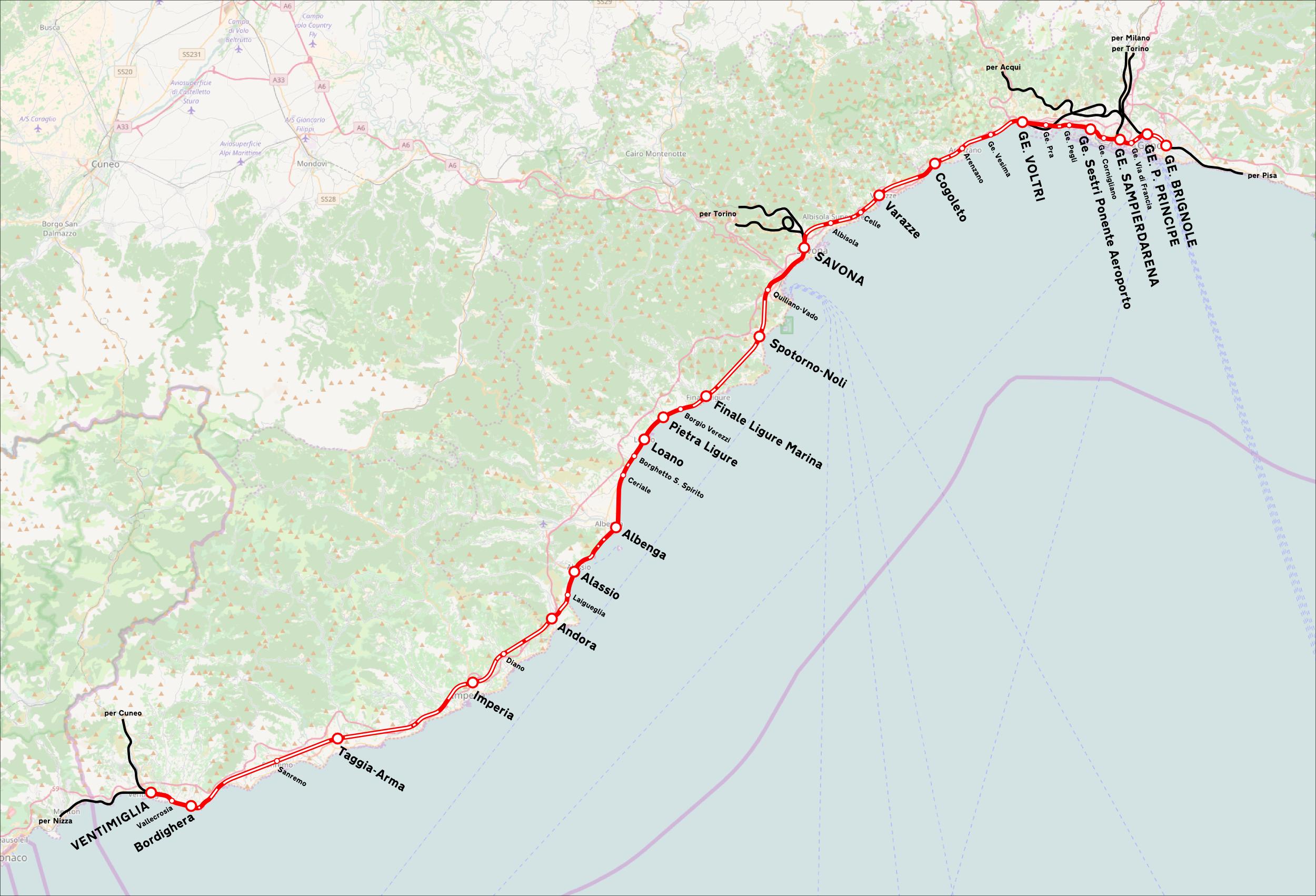Varigotti Liguria Cartina Geografica.Ferrovia Genova Ventimiglia Wikipedia