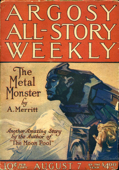 Copertina di Argosy All-Story Weekly per la storia Il mostro di metallo (The Metal Monster) di A. Merritt (7 agosto 1920).