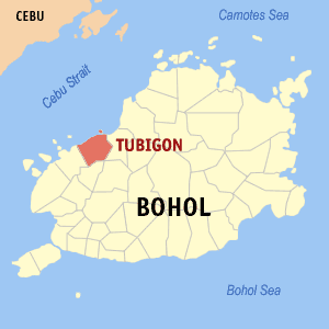 Map of Bohol showing the location of Tubigon