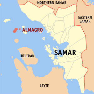Map of Samar showing the location of Almagro