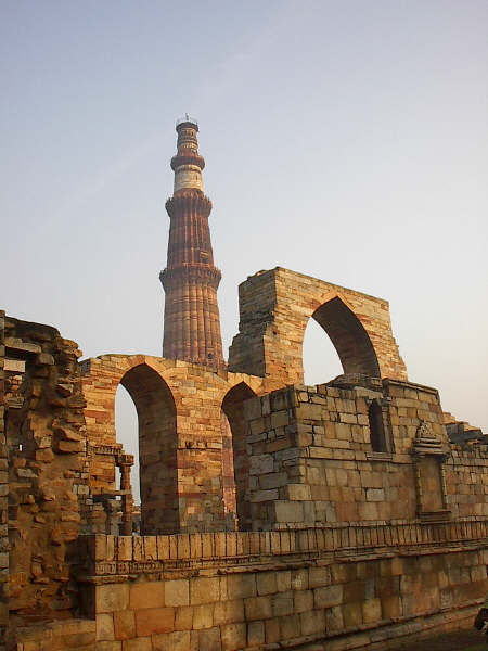 Qutub Minar is the world's tallest brick minaret, commenced by Qutb-ud-din Aybak of the Slave dynasty.