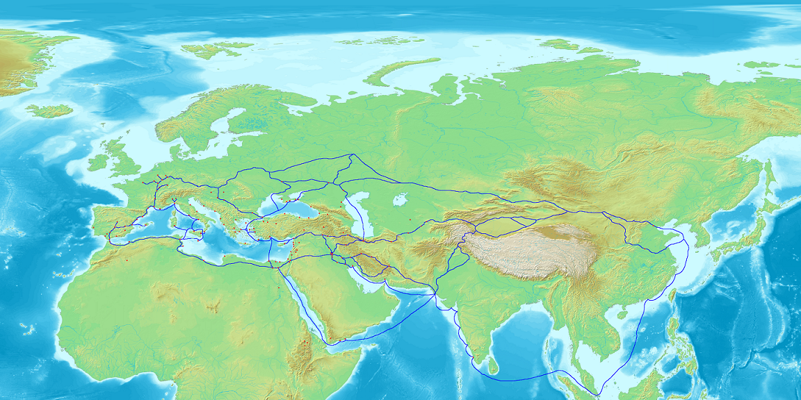 Trade network of the Radhanites, c. 870 CE; from Wikipedia