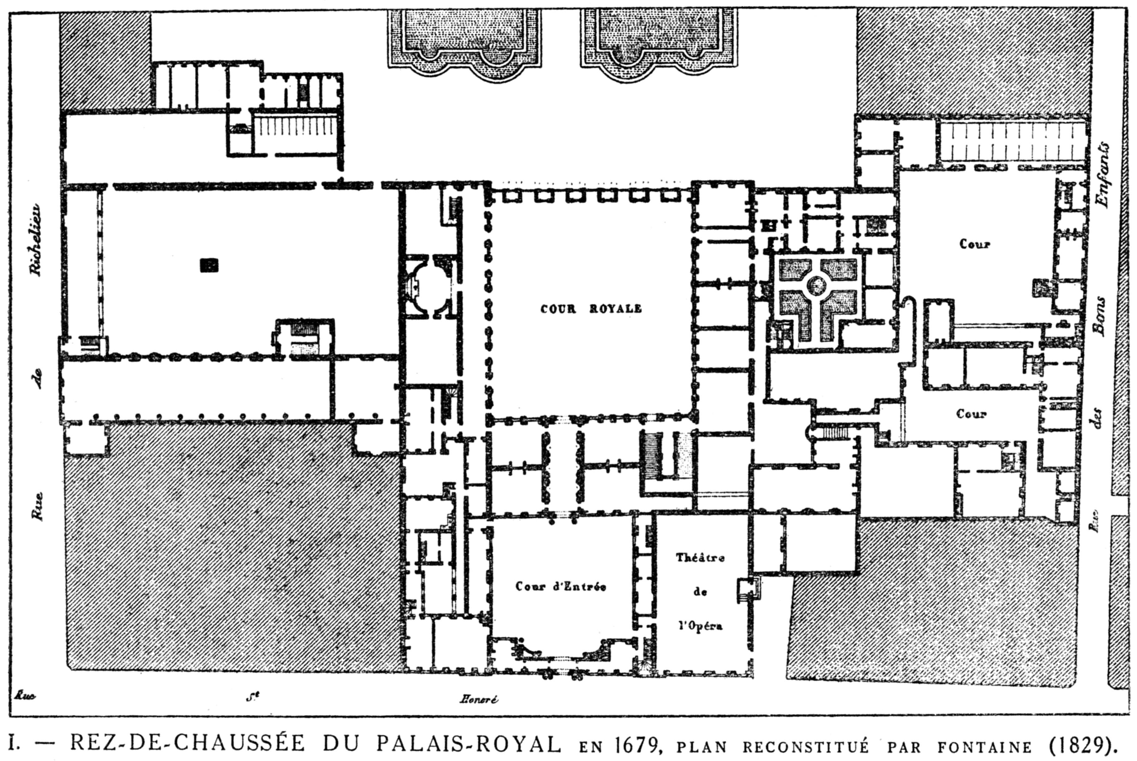 Filerez de chaussée du palais royal en 1679 plan reconstitué