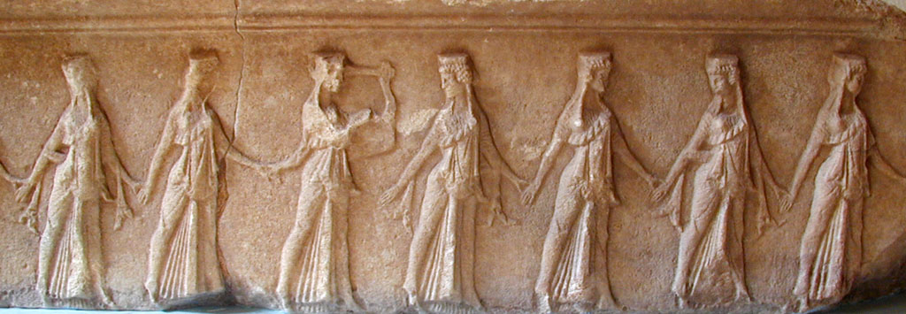 Photo of frieze of the choral dancers from the Great Gods' sanctuary in Samothraki