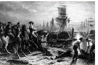 J. Godfrey after M.A. Wageman: An engraving depicting the British evacuation of Boston, March 17, 1776, at the end of the Siege of Boston