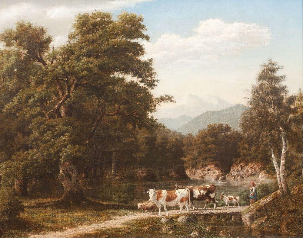 Siegwald Dahl - Bäuerin mit Vieh am Bach (1872).jpg