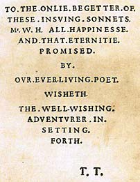 Shakespeares Sonnets  Wikipedia Dedication Page From The Sonnets
