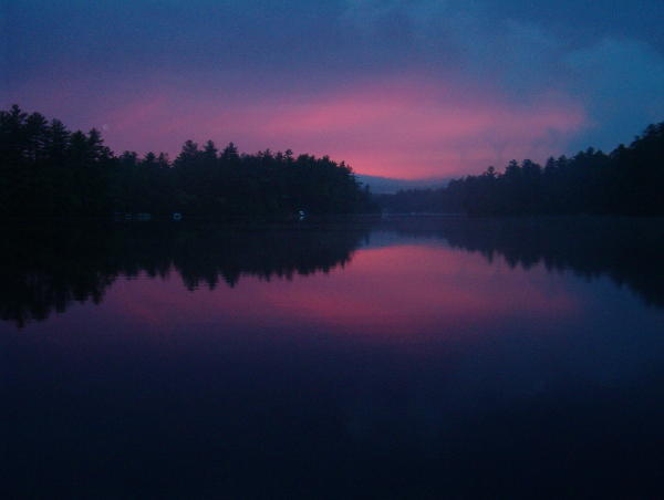 English: Saturday night sunset at Balch Pond, ME