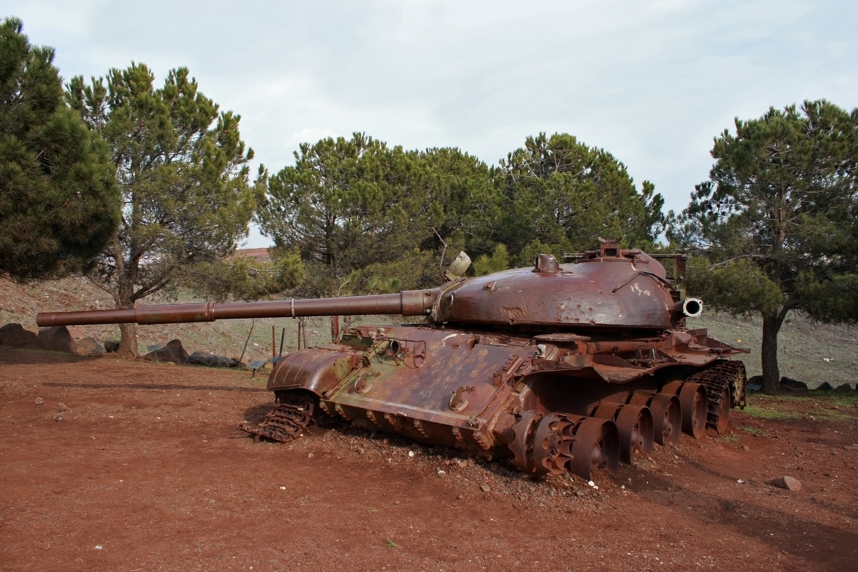 A Syrian T-62 stands as part of a memorial commemorating the battle of the 'Valley of Tears', Northern Golan Heights, Israel.