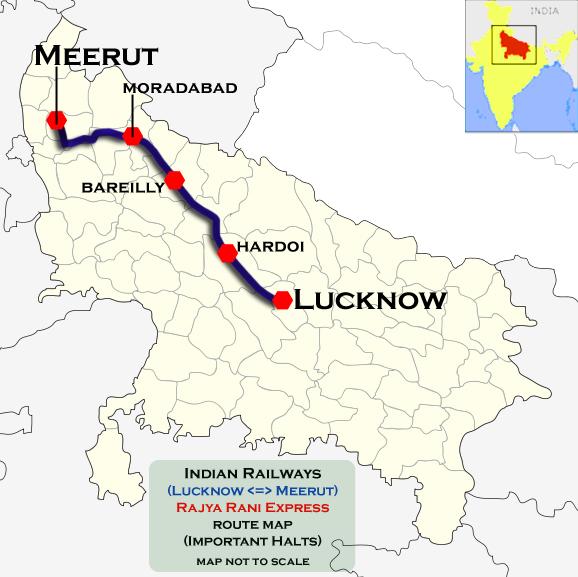 Meerut India Map.Meerut City Lucknow Rajya Rani Express Wikipedia