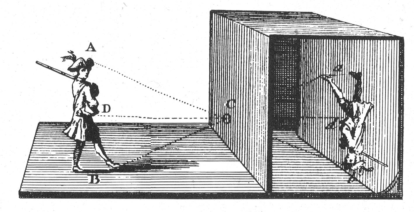 Illustration of the camera obscura principle (from wikipedia)