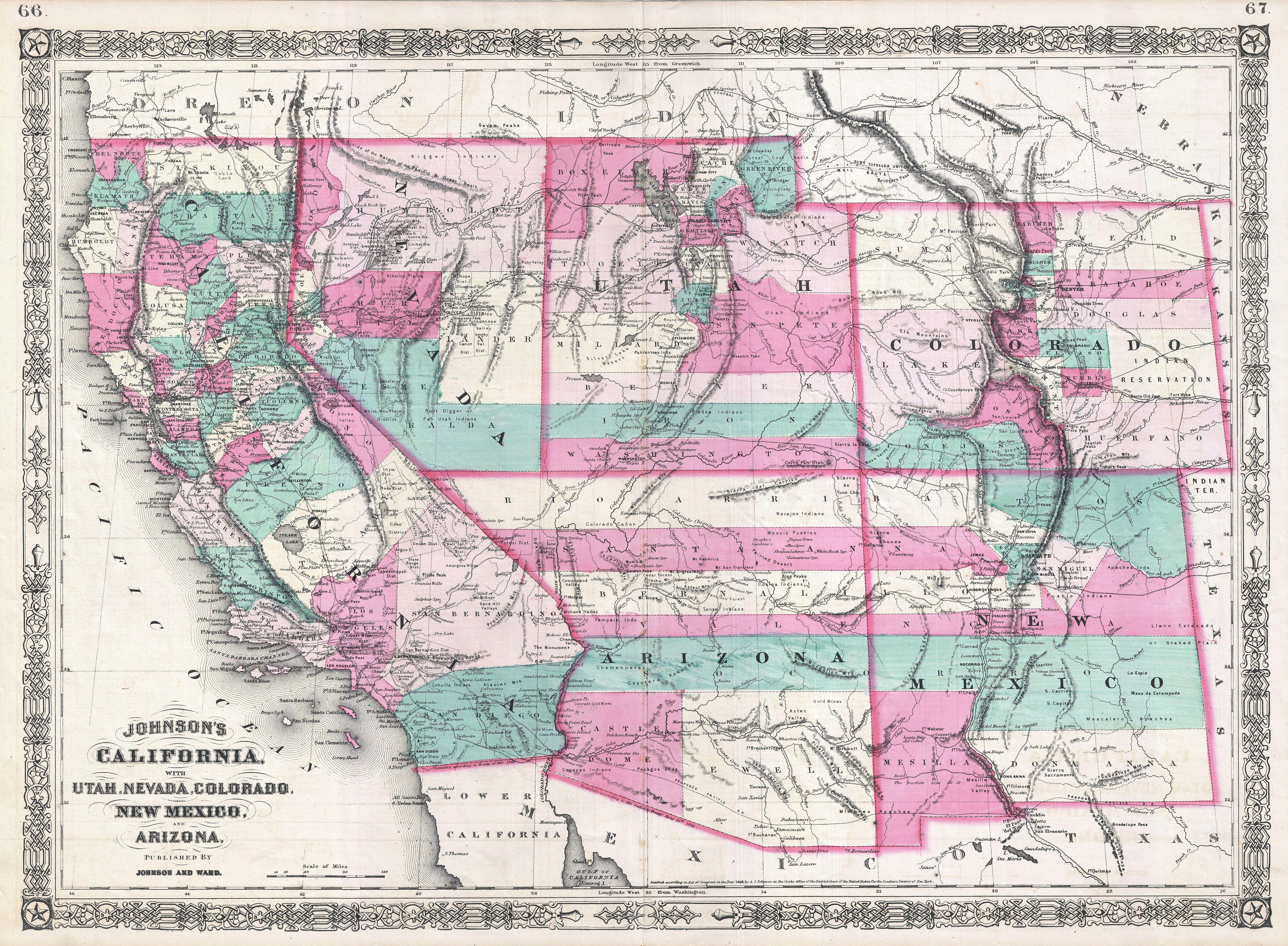 File1866 Johnson Map Of California Colorado Arizona