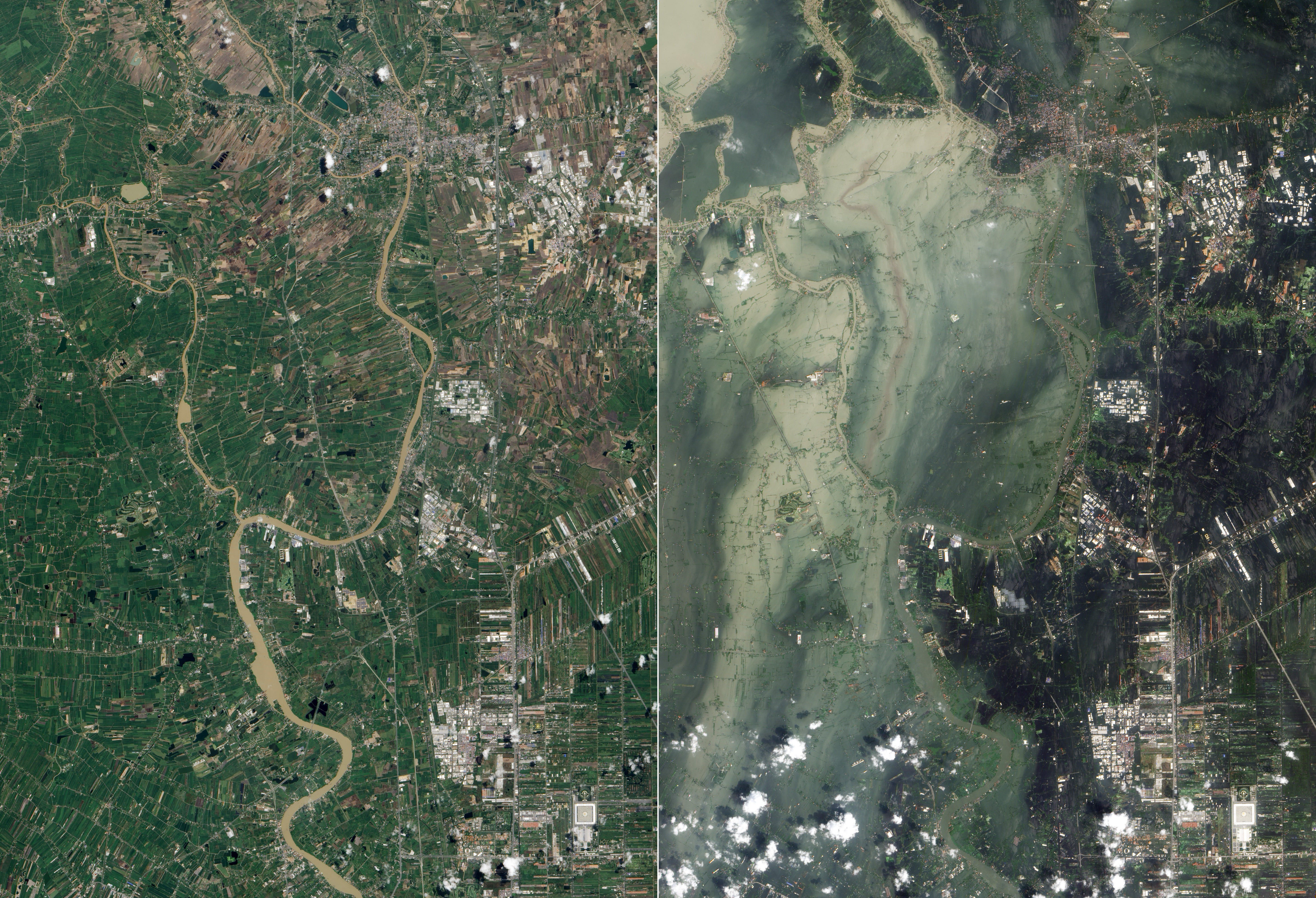 Flooding In Ayutthaya And Pathum Thani Provinces In October Right Compared To Before The Flooding In July Left
