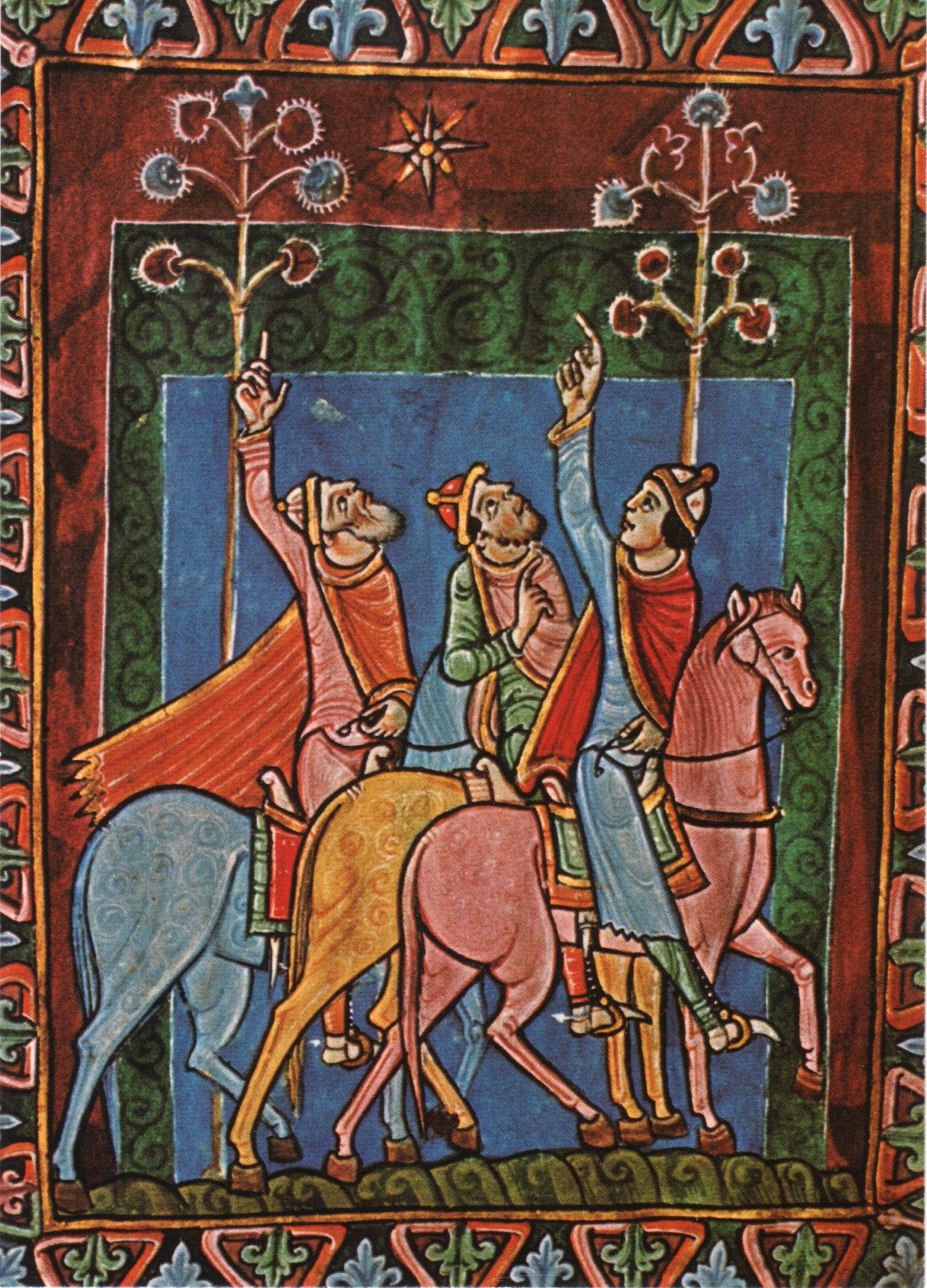 Three Wise Men from the Psalter of St. Olbana, England, XII century.