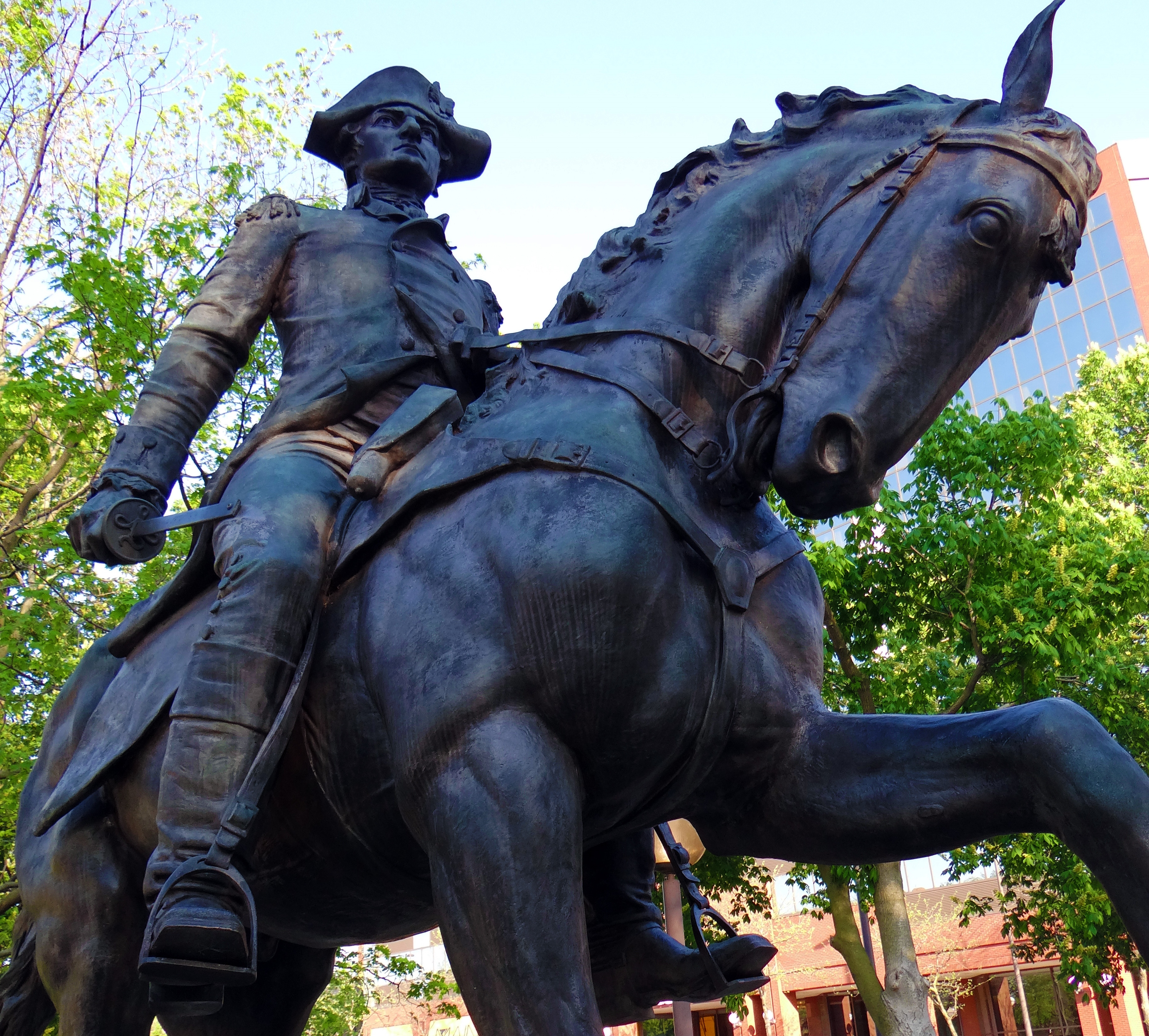General Mad Anthony Wayne statue is located in Freimann Square in Fort Wayne, Indiana. The bronze equestrian statue was sculpted by George Etienne Ganiere in 1918, courtesy of Wikipedia Commons