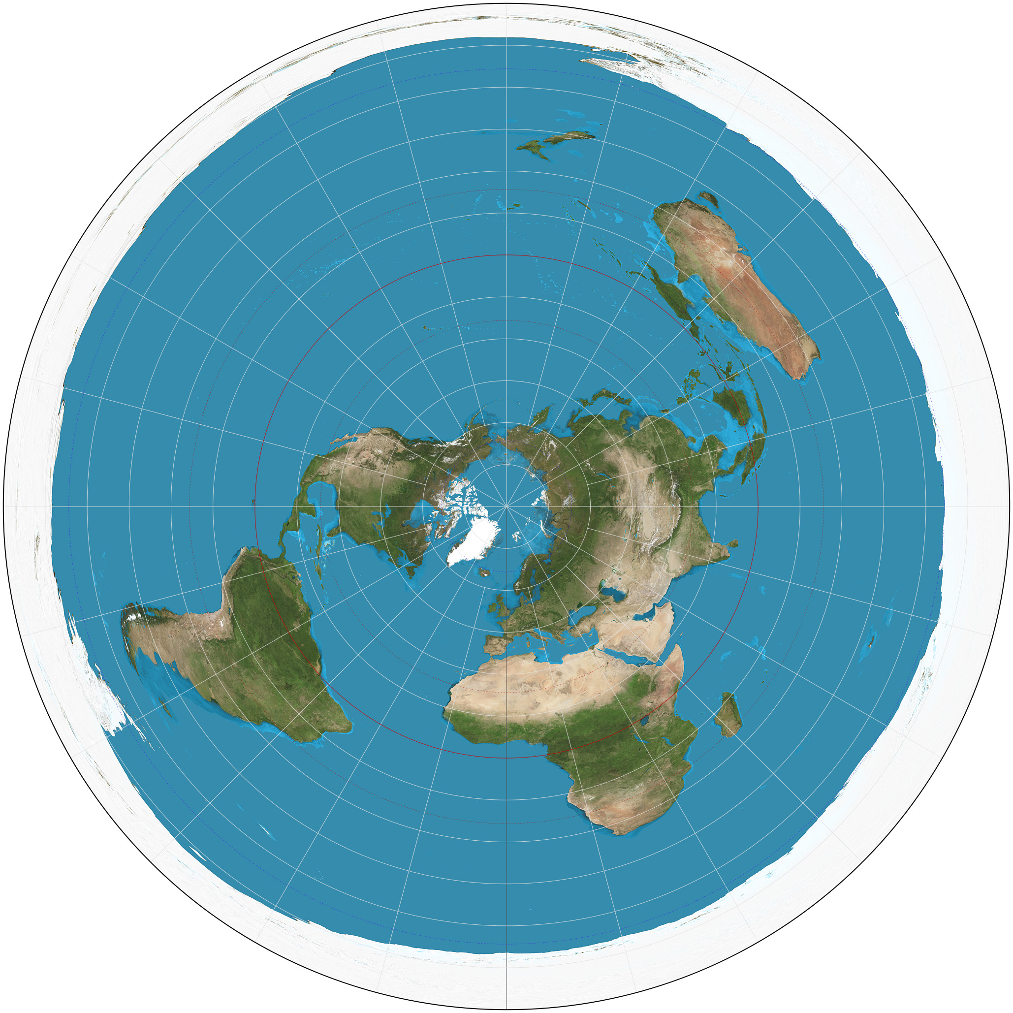 Map Of The World Globe View.Azimuthal Equidistant Projection Wikipedia