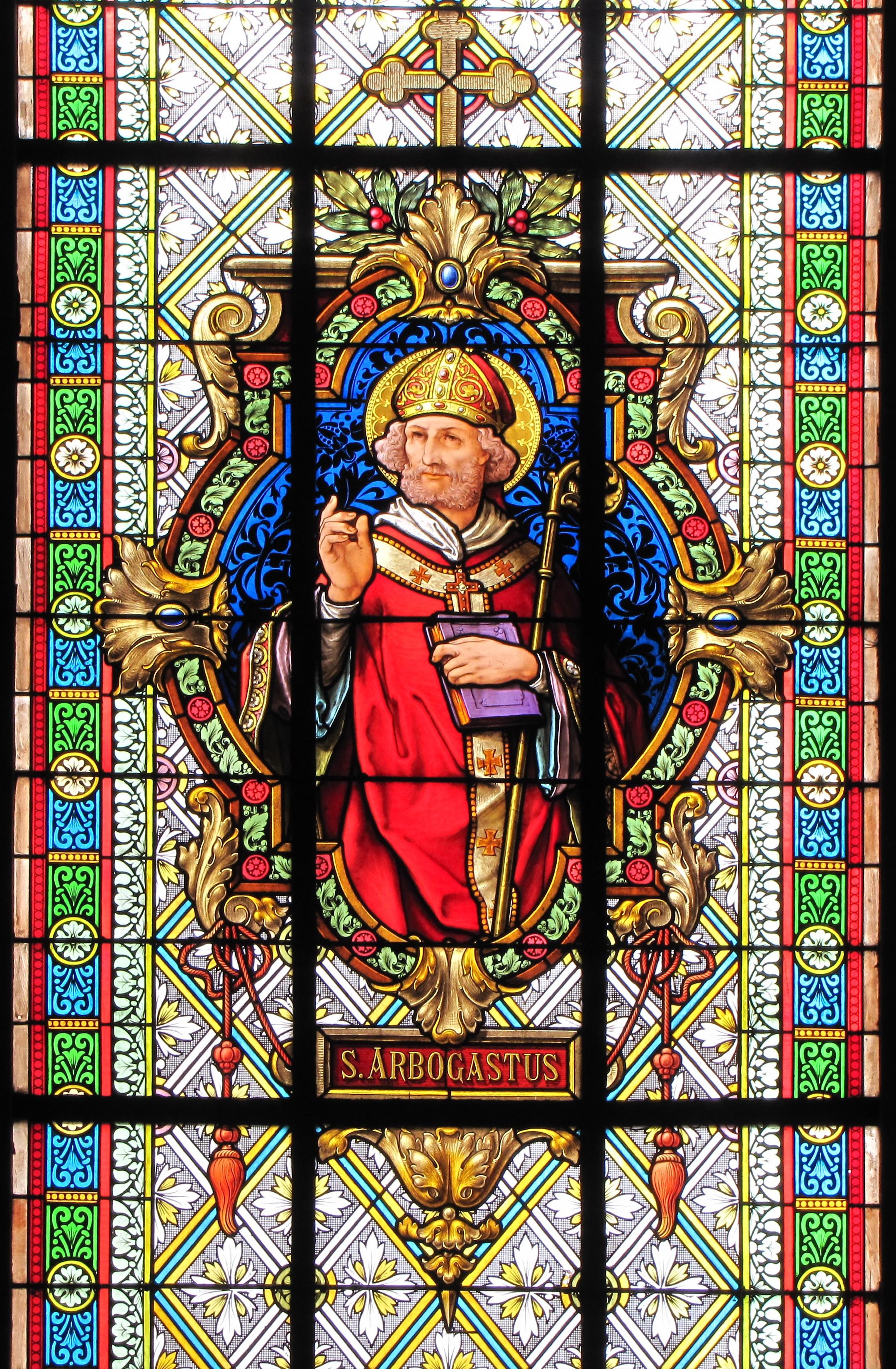 Glassmaleri av Arbogast fra kirken Saint-Médard i Bœrsch (ty. Börsch) i Bas-Rhin