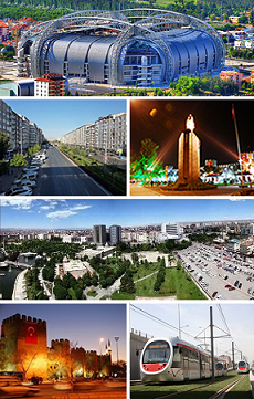 Top: Kadir Has Stadium, 2nd left: Sivas Avenue, 2nd right: Atatürk Statue and the city walls of Kayseri in the background, 3rd: Tekin business district and Oto Park, Bottom left: Kayseri Castle at night, Bottom right: Kayseray.