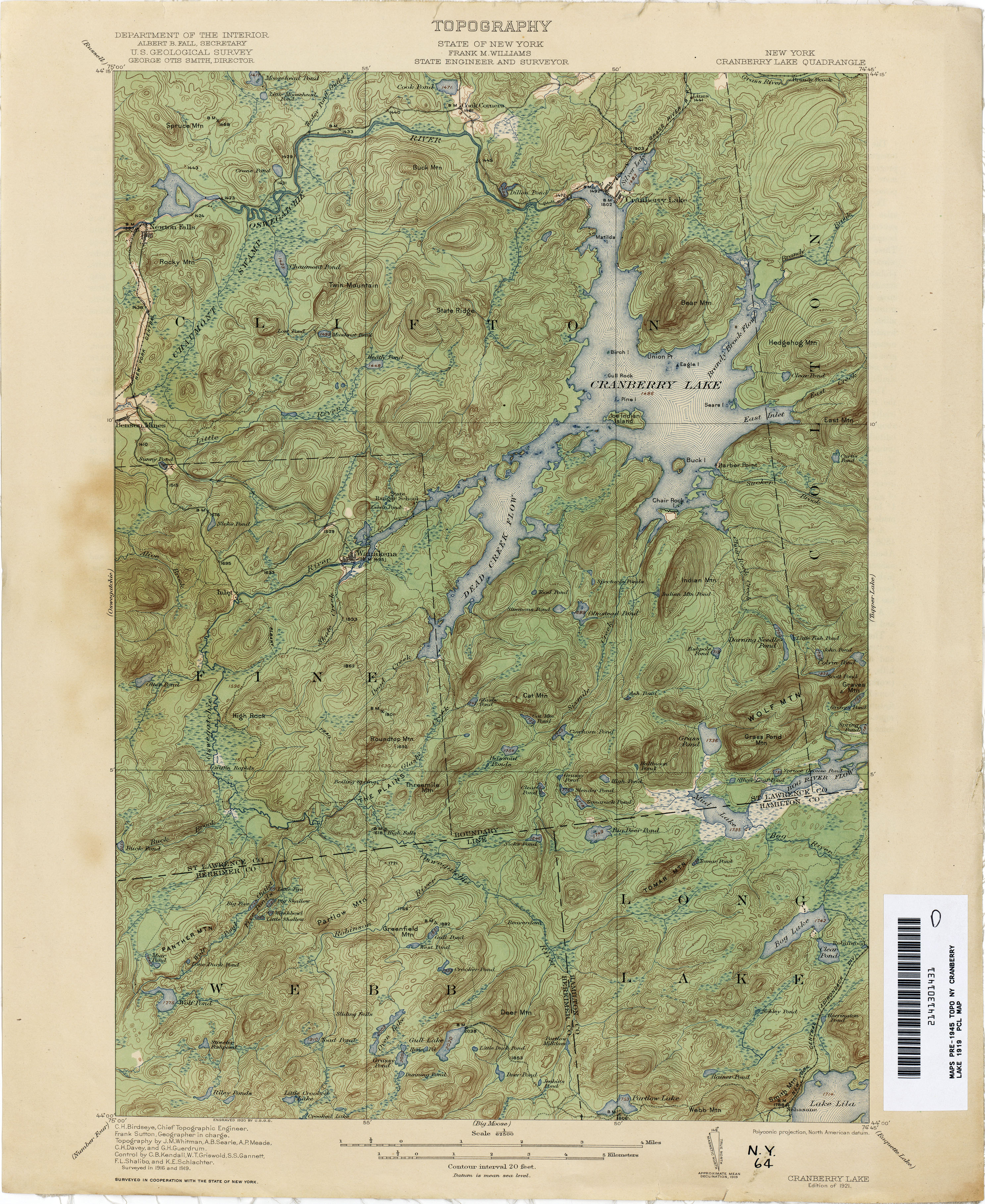 File Cranberry Lake New York Usgs Topo Map 1919 Jpg Wikimedia Commons