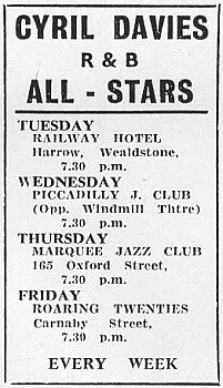 With Davies, the All-Stars had standing engagements at a number of London's jazz clubs.