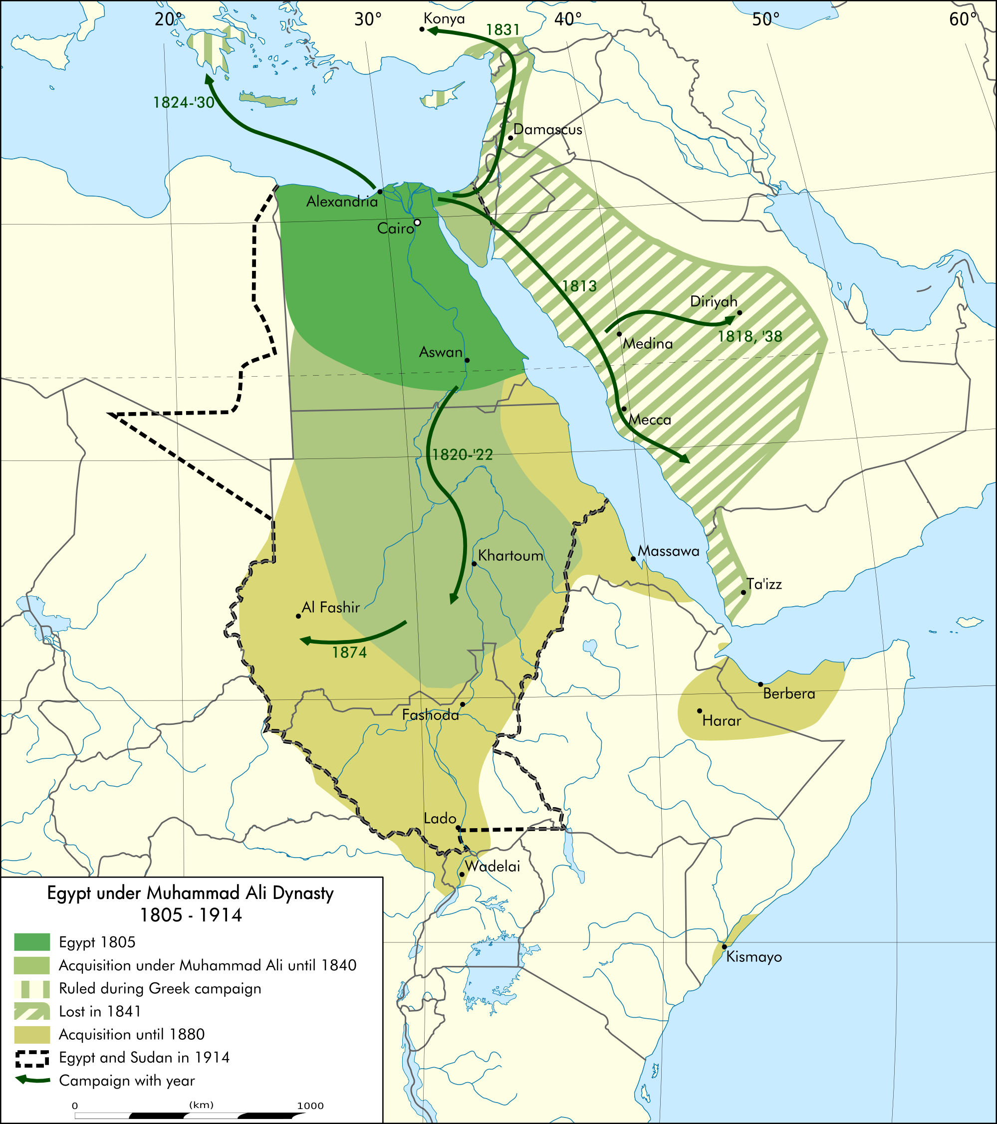 FileEgypt Under Muhammad Ali Dynasty Map Enpng Wikimedia Commons - Map of egypt history
