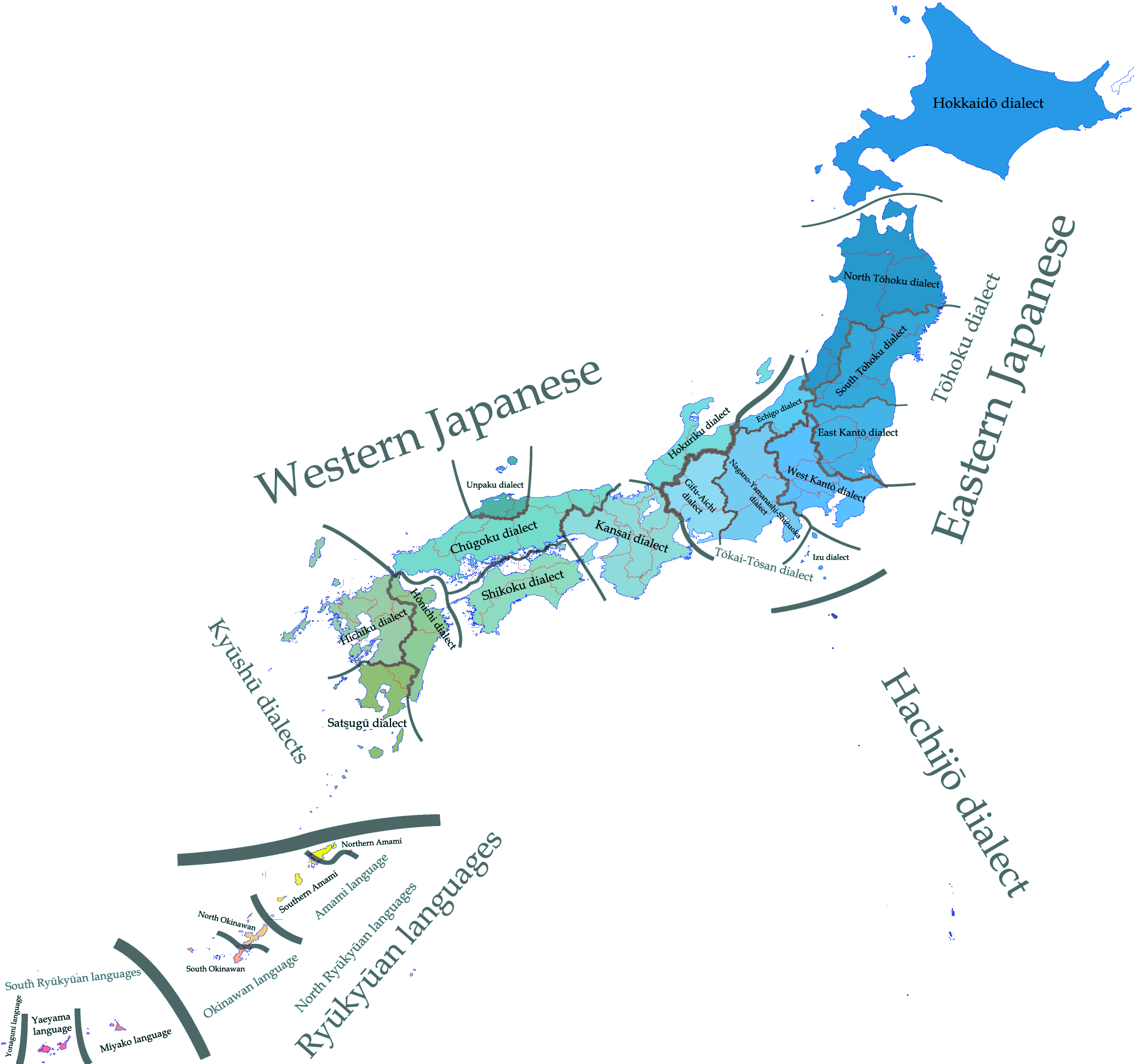 Japan - Carte linguistique / Linguistic map