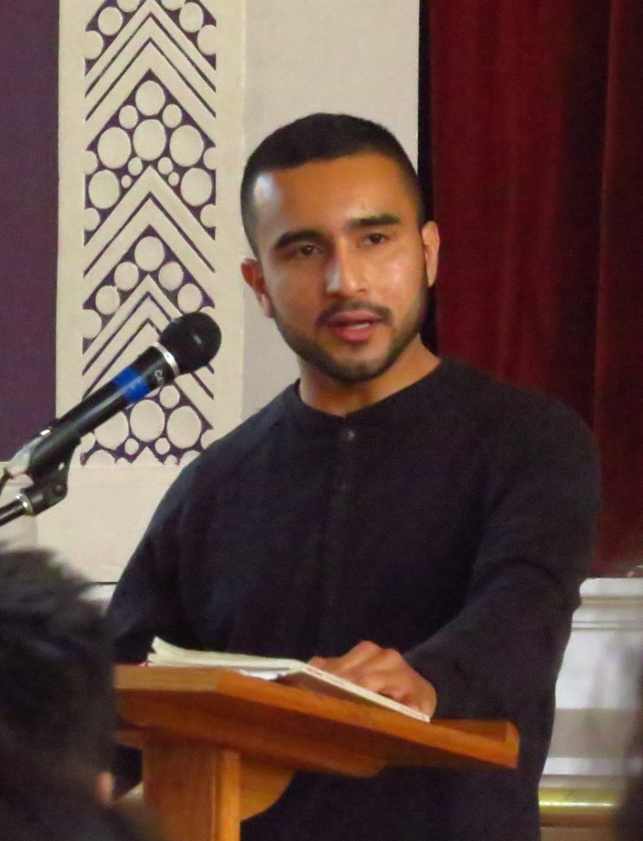 Javier Zamora, poet, reading at Sacred Heart School, Washington, DC February 27, 2018